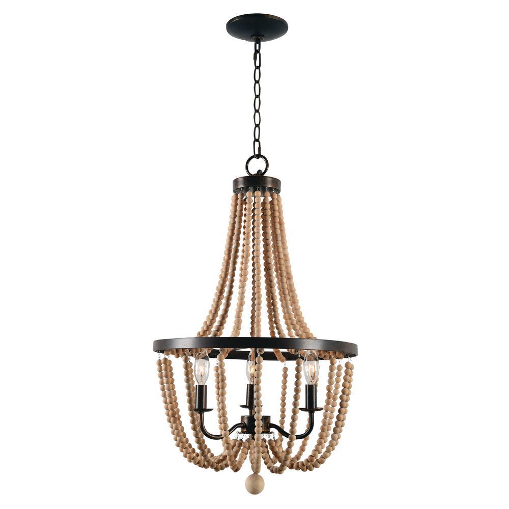 Kenroy Home Regas 3-Light Wood Bead Chandelier
