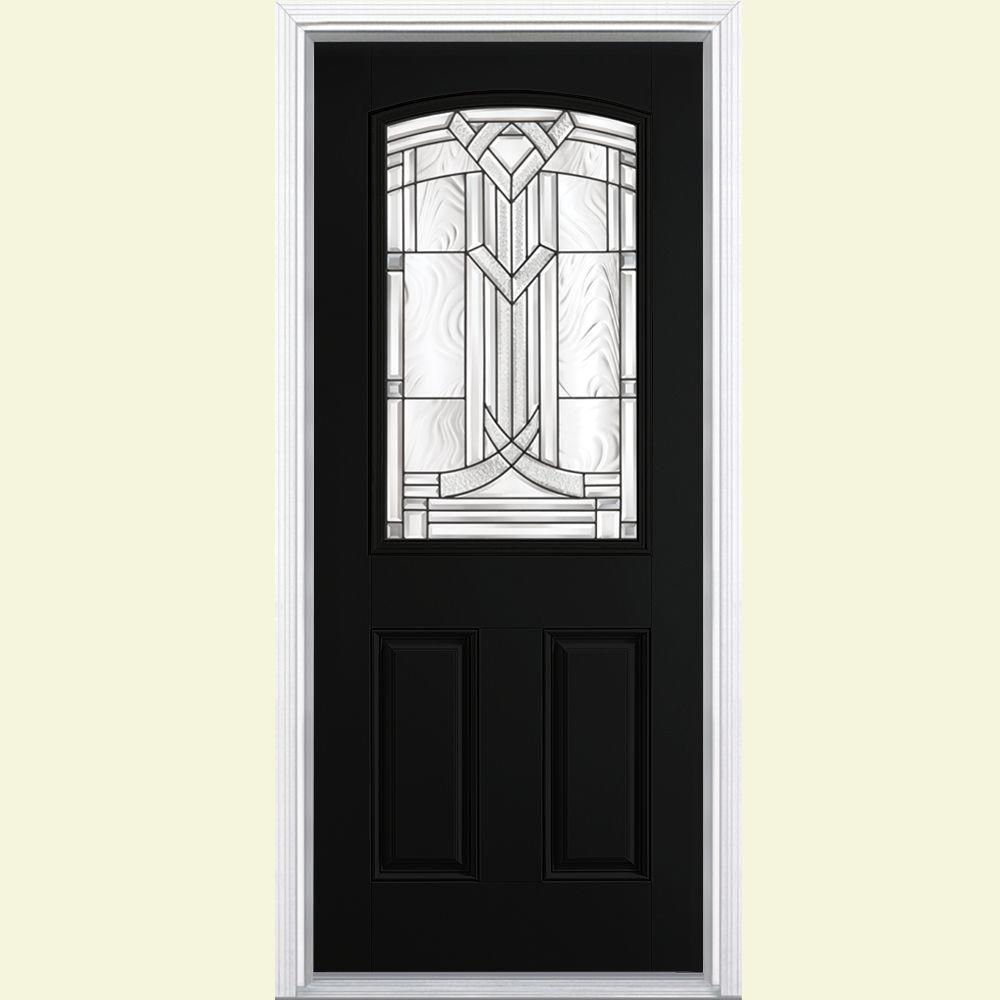 Masonite 36 in. x 80 in. Chatham Camber Top Half Lite Left Hand Inswing Painted Smooth Fiberglass Prehung Front Door w/ Brickmold, Jet Black