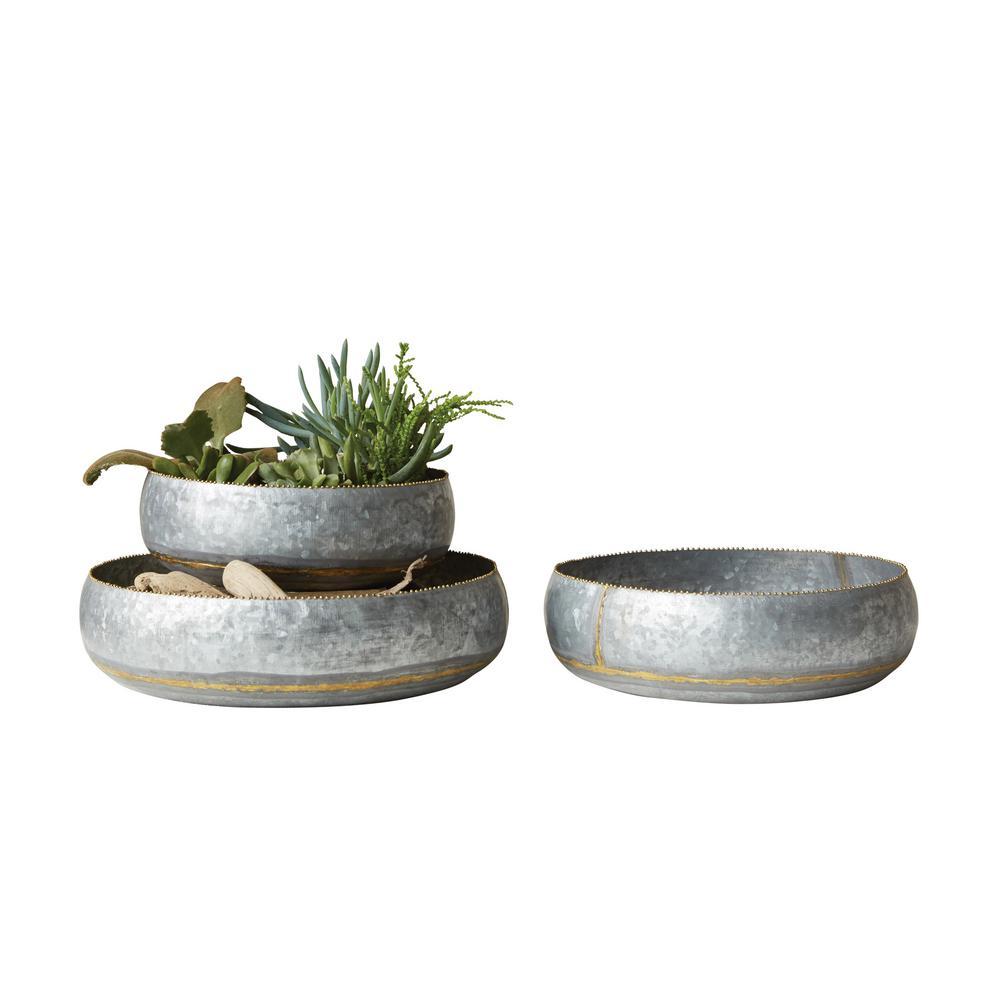 Round Silver Galvanized Planter Bowls (Set of 3)