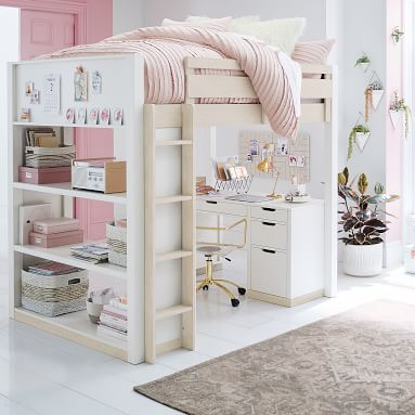 Rhys Loft Bed with Desk Set, Full, Weathered White/Simply White