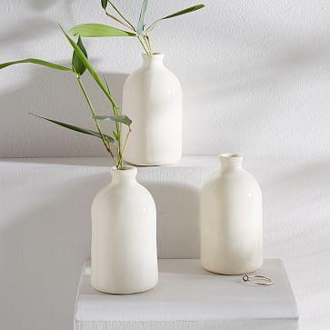 Honeycomb Studio Bud Vase, White, Set of 3