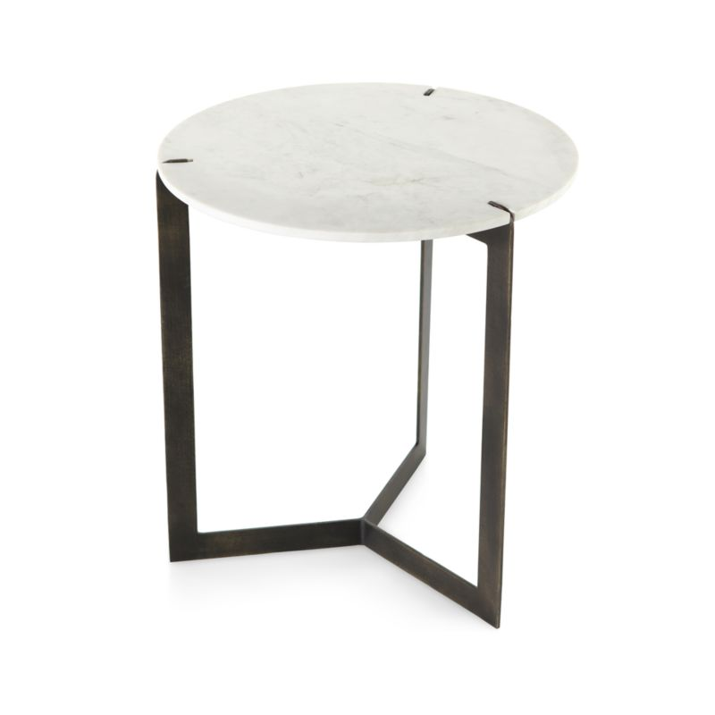 """Kace White Marble End Table 20""""Wx20""""Dx22""""H"""