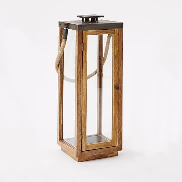 Wood + Rope Lantern, Natural/Grey, Short