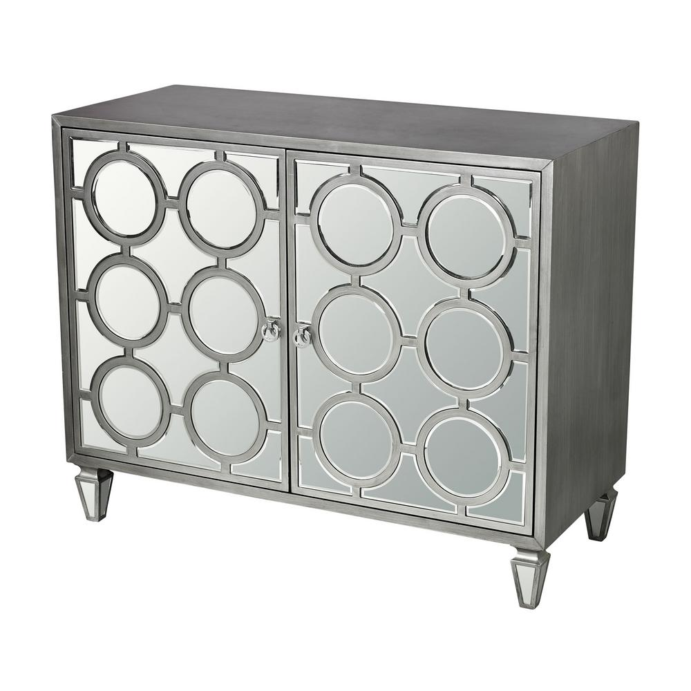 Silver Mirrored Storage Cabinet, Clear Mirror With Silver