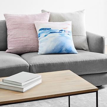 """Silk Ombre Striations Pillow Cover, 20""""x20"""", Papaya"""