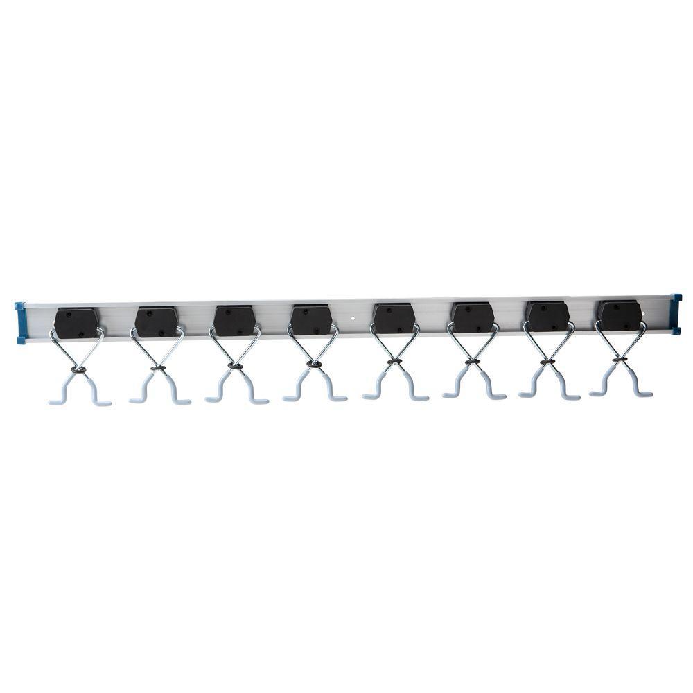 Everbilt 36 in. 80 lb. Aluminum 8-Clamp Wall Rack Organizer