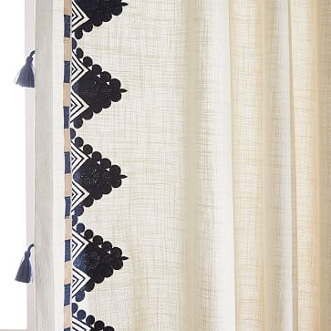 """Embroidered Border Curtain, Navy, 48""""x96"""""""