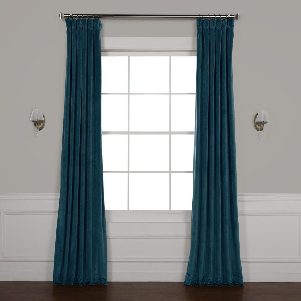 Exclusive Fabrics Furnishings Deep Sea Teal Blue Heritage Plush Velvet Curtain 50 In W X 96 In L Home Depot