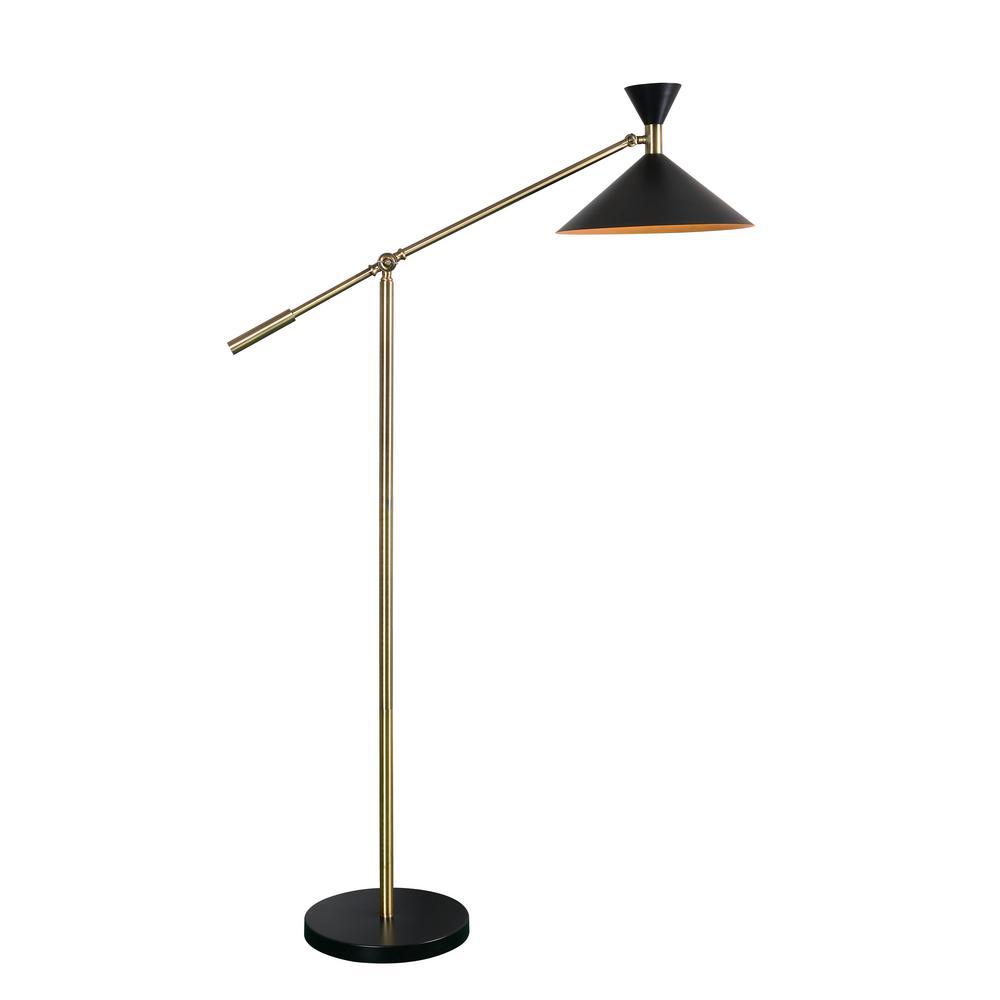 Kenroy Home Arne 53 in. Black Floor Lamp with Metal Shade