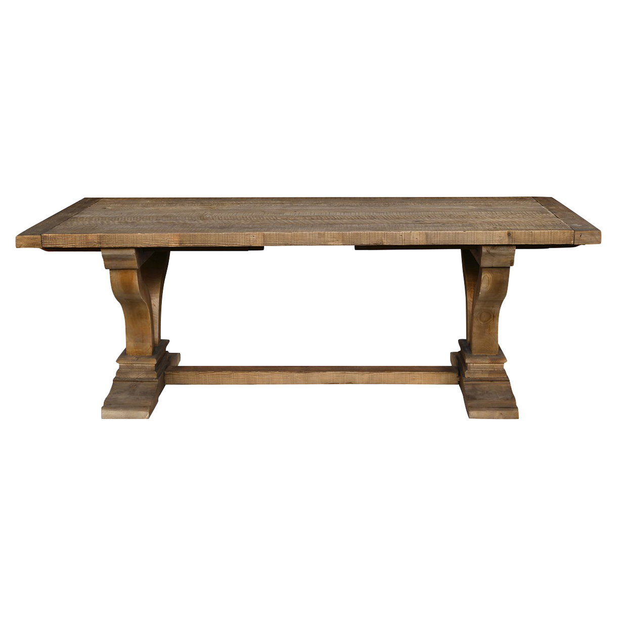 Sophia Rustic Lodge Rectangular Brown Distressed Pine Extendable Dining Table