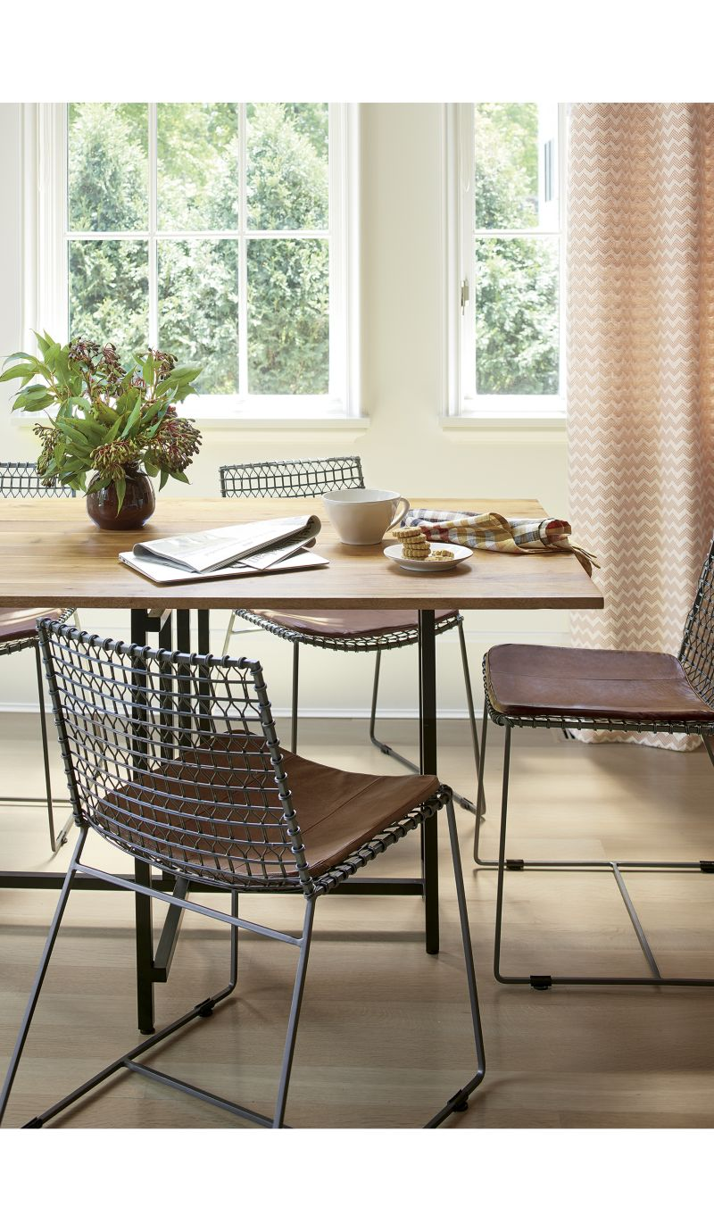 Tig Dining Chair Brown Leather Cushion