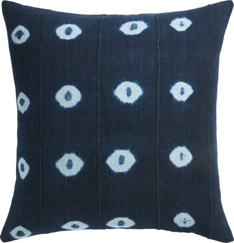 """""""23"""""""" Indigo Dots Mudcloth Pillow with Feather-Down Insert"""""""