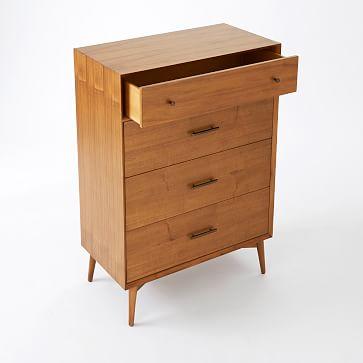 Mid-Century 4 Drawer Dresser, Acorn