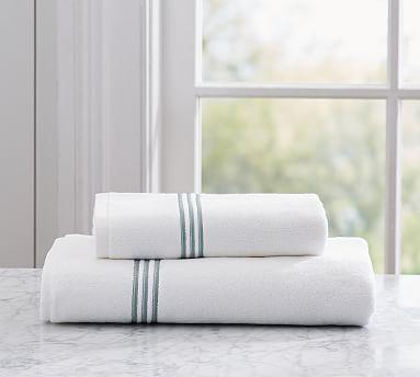 Grand Embroidered Organic Bath Towel, Porcelain Blue