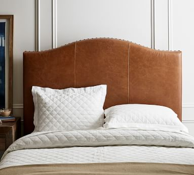 Raleigh Curved Leather Tall Bed without Nailheads, King, Burnished Bourbon