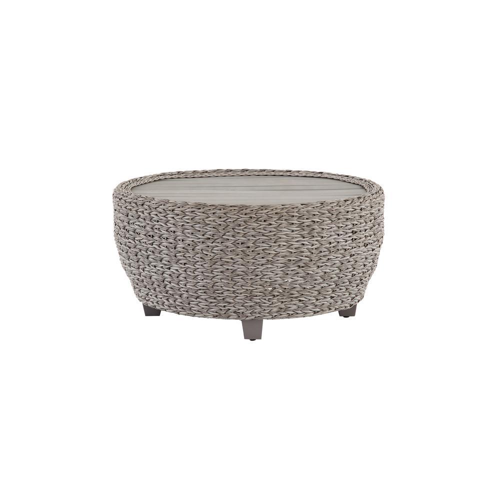 Hampton Bay Megan Grey All-Weather Wicker Patio 36 in. Large Round Coffee Table with Slatted Wood Top