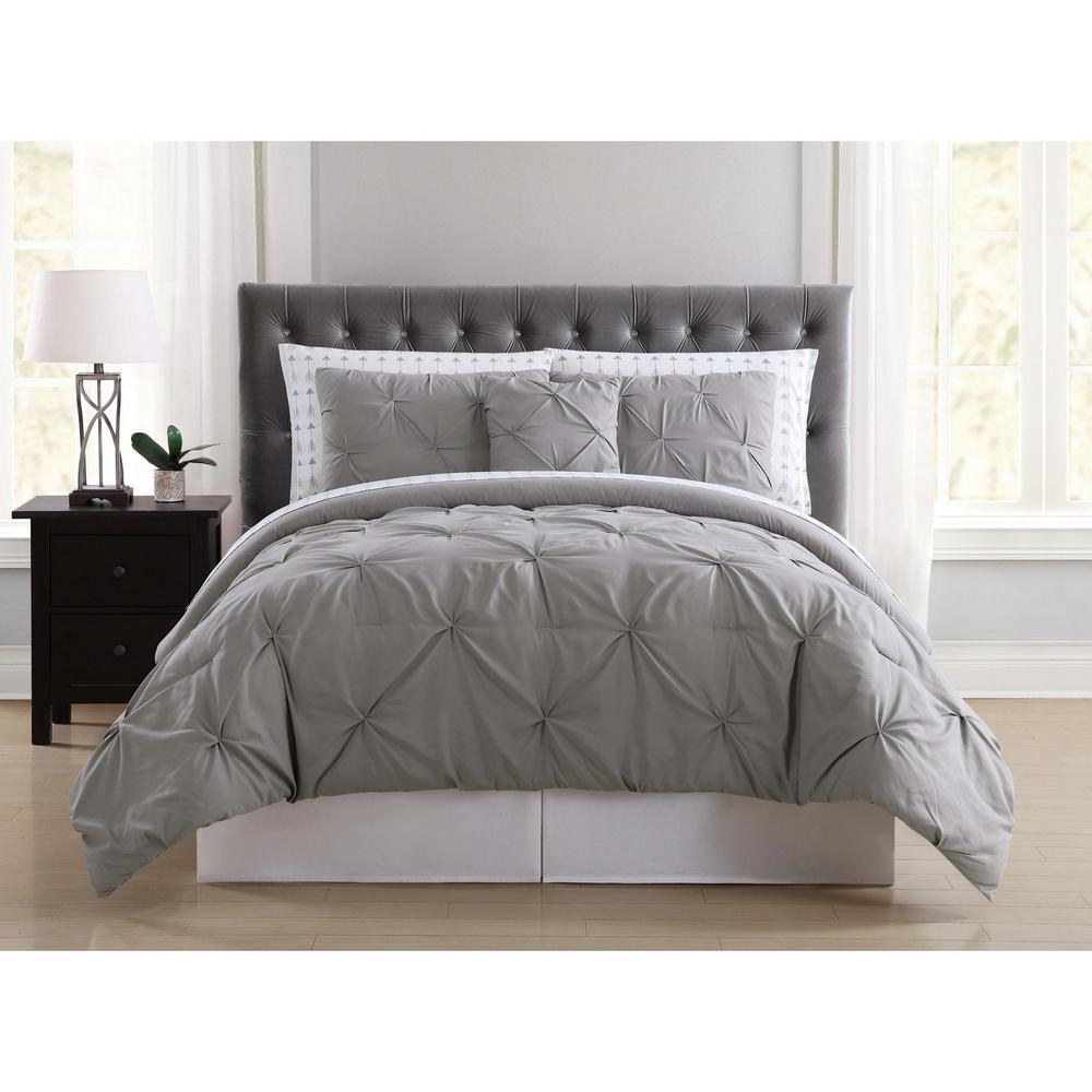 Arrow Pleated Grey Queen Bed in a Bag