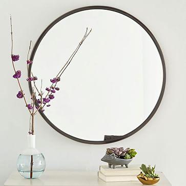 Metal Framed Round Mirror, Antiqued Bronze