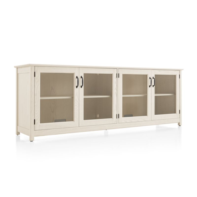 """Ainsworth Cream 85"""" Media Console with Glass/Wood Doors"""