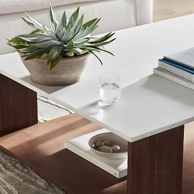 "Waterfall Coffee Table, 52X40"", Carrara White Amber"