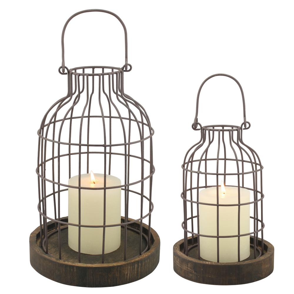 11.5 in. Brown Weathered Metal Lantern with Wood Base (Set of 2)