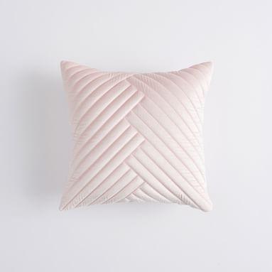 Velvet Channel Pillow Cover, 16x16, Mauve Blush