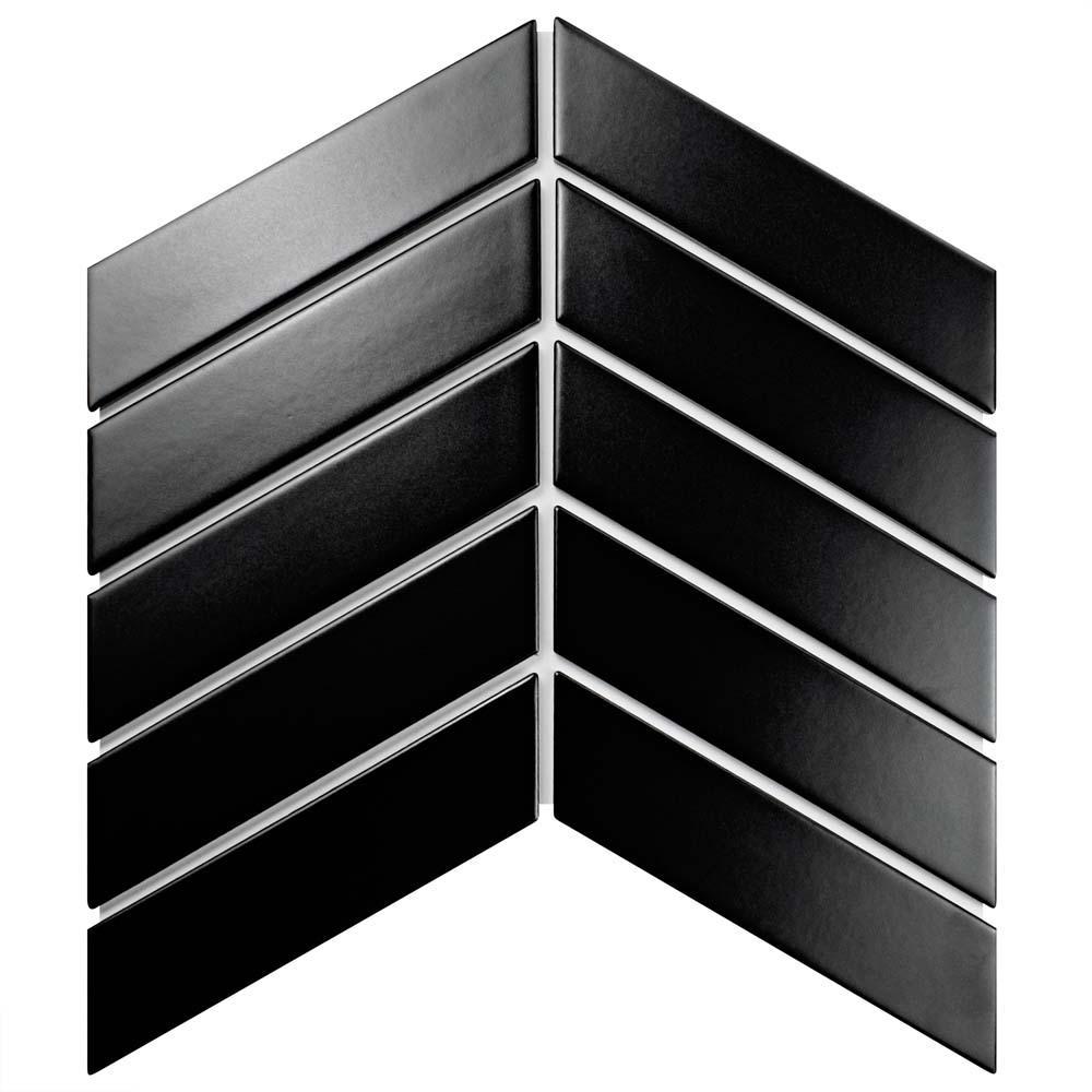 Merola Tile Metro Soho Chevron Matte Black 1-3/4 in. x 7 in. Porcelain Floor and Wall Tile (1 sq. ft. / pack), Matte Black/Low Sheen