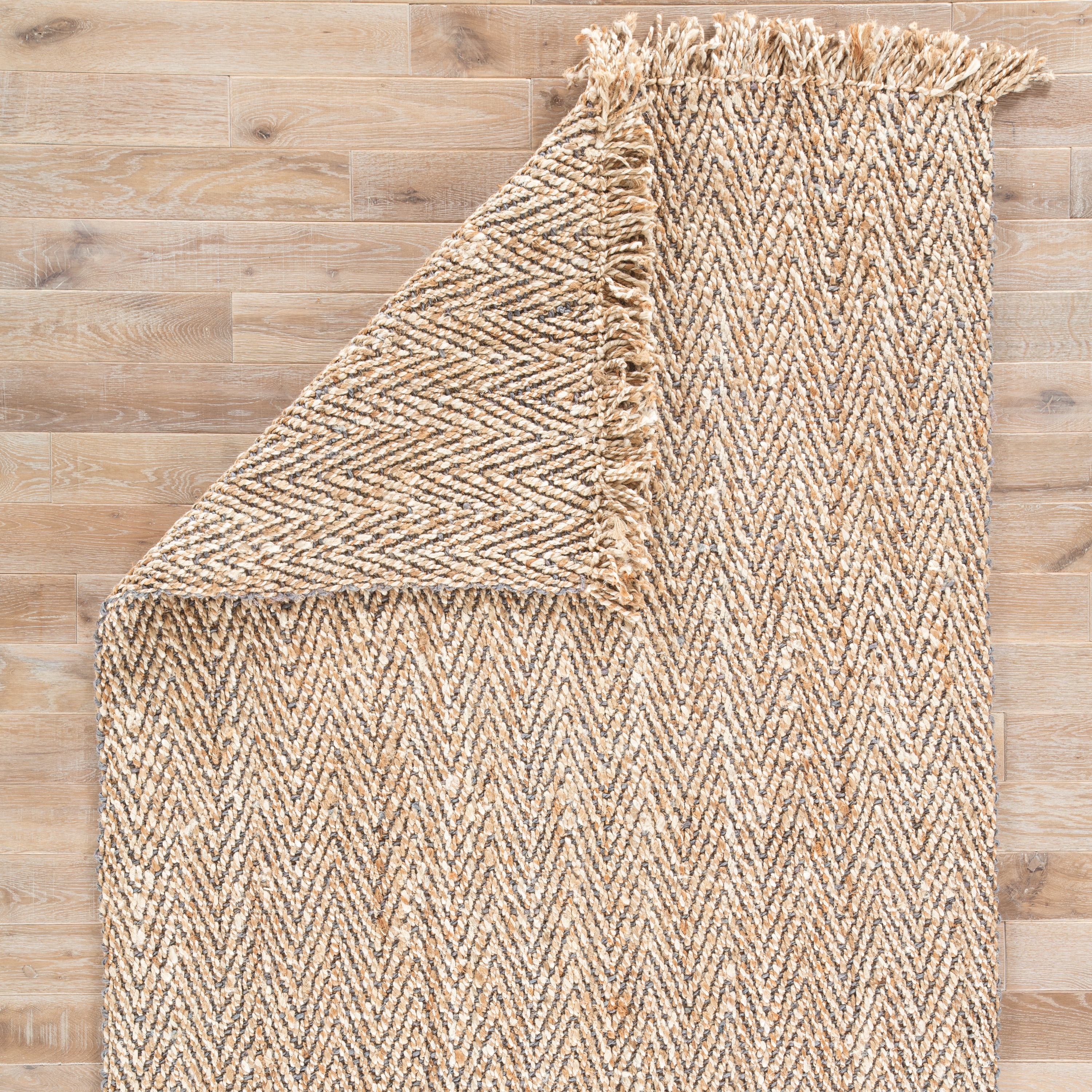 Hoopes Natural Chevron Beige/ Gray Area Rug (9' X 12')