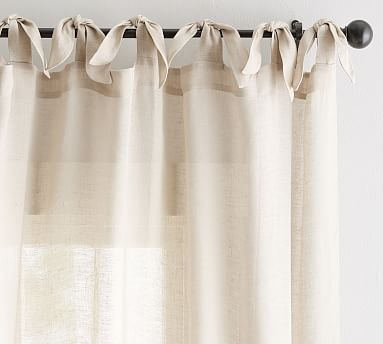 """Belgian Flax Linen Sheer Tie-Top Drape, 50 x 108"""", Flax"""