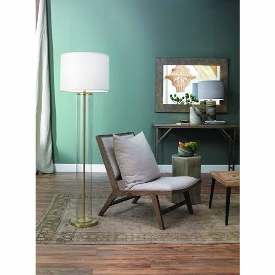Kali Modern Classic Gold Metal Clear Glass White Linen Shade Floor Lamp