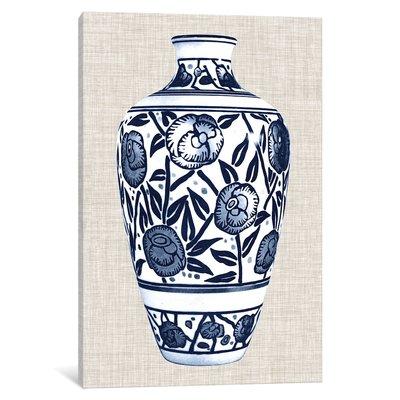 'Blue & White Vase IV' Graphic Art Print on Canvas