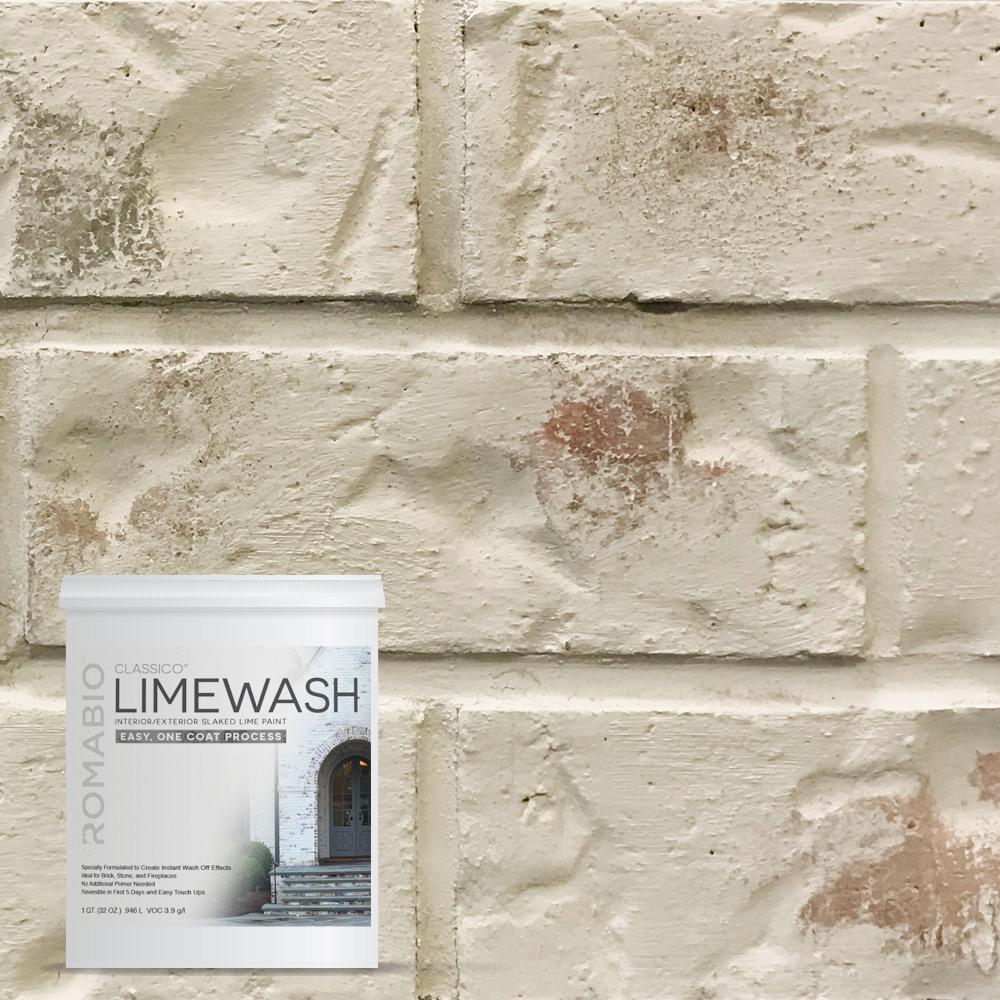 ROMABIO 1 qt. Riposo Beige Limewash Interior/Exterior Paint, Limewash Riposo Beige