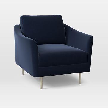 Sloane Chair, Poly, Performance Velvet, Ink Blue, Light Bronze