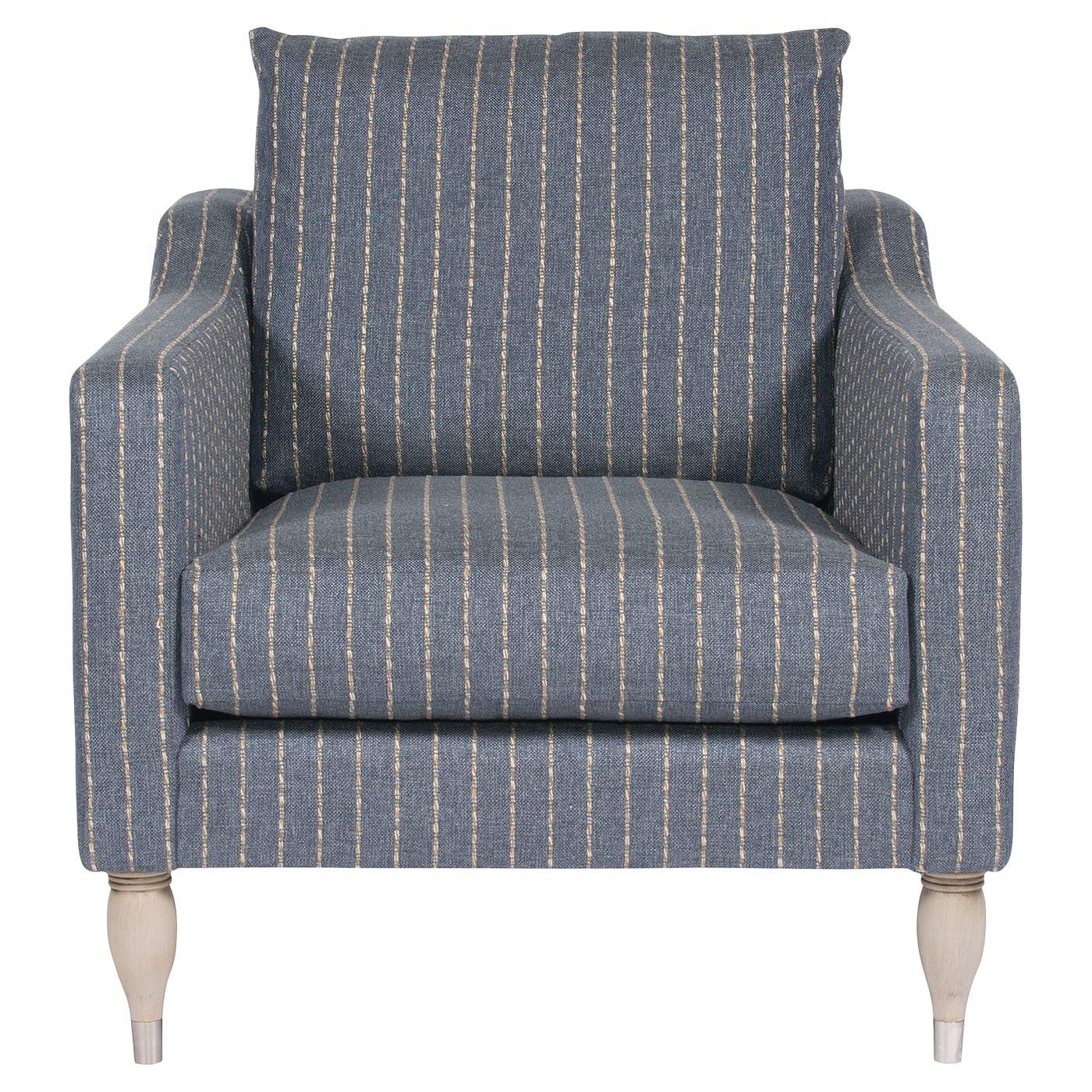 Vanguard Thea Modern Classic Beige Stripe Blue Upholstered Arm Chair