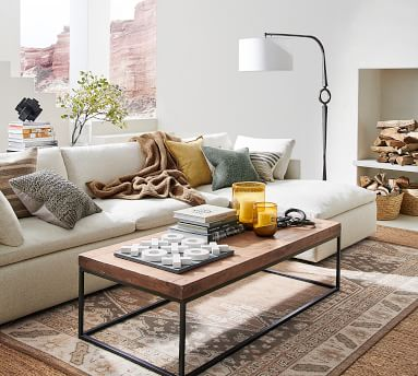 Bolinas Upholstered Right Arm Sofa with Chaise Sectional, Down Blend Wrapped Cushions, Performance Brushed Basketweave Oatmeal