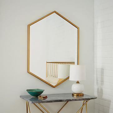 Metal Framed Hexagon Mirror, Antique Brass, UPS