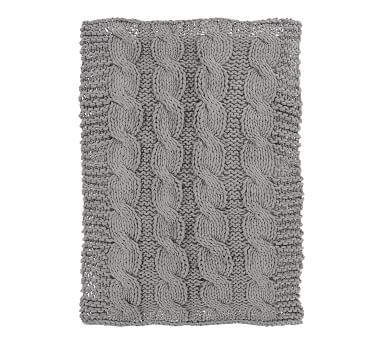 """Colossal Handknit Throw, 44x56"""", Ivory"""