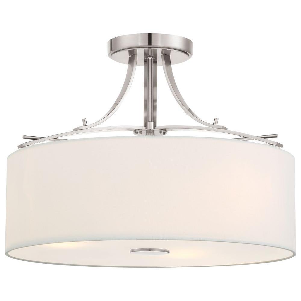 Minka Lavery Poleis 3-Light Brushed Nickel Semi-Flush Mount Light