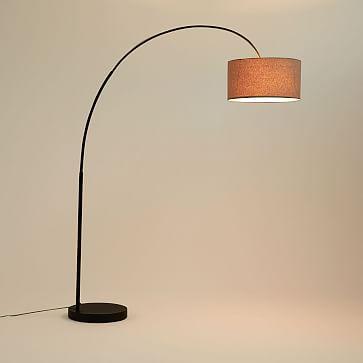 Overarching Linen Shade Floor Lamp, Antique Bronze/Natural Linen