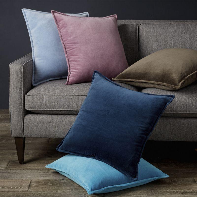"""Brenner Lavender Velvet Pillow with Down-Alternative Insert 20"""""""