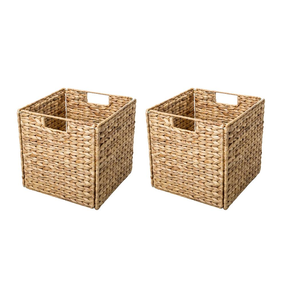 12 in. x 12 in. Foldable Hyacinth Storage Basket with Iron Wire Frame (2-Set), Tan