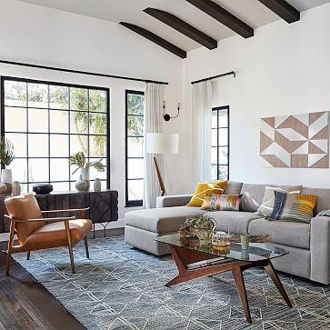 Caldas Floor Lamp, White Linen, Walnut, Brass