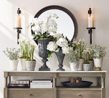 Parker Recycled Glass & Bronze Wall Mount Pillar Candleholder - Large Set of 2