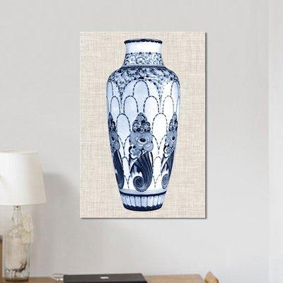 'Blue & White Vase I' Graphic Art Print on Canvas
