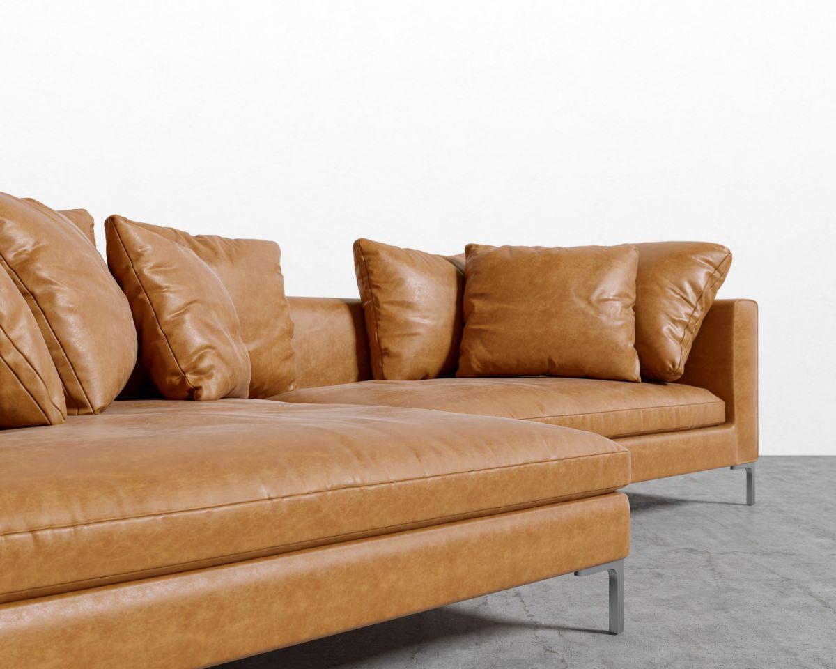 Hugo Sectional - Leather - Right-hand-facing Chrome - Hugo Palermo Ca