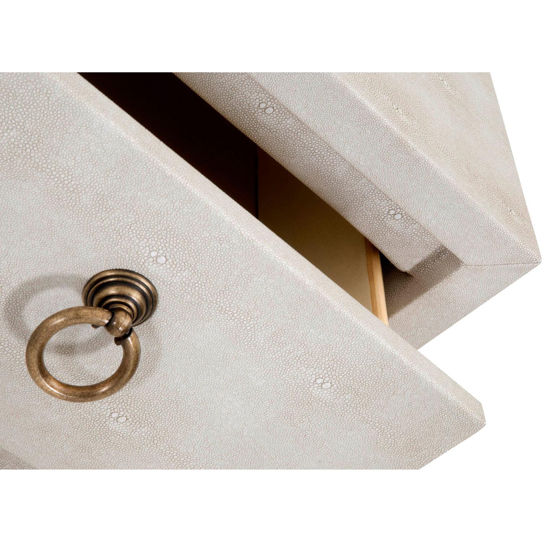 Simon Modern Classic 6-Drawer White Shagreen Bruhsed Gold Double Dresser