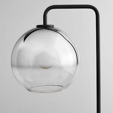 "Sculptural Glass Globe Floor, 8.5"" Globe, Silver Ombre, Shade, Bronze Canopy"