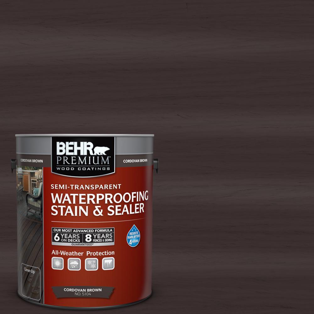 BEHR Premium 1 gal. #ST-104 Cordovan Brown Semi-Transparent Waterproofing Exterior Wood Stain and Sealer, Browns/Tans