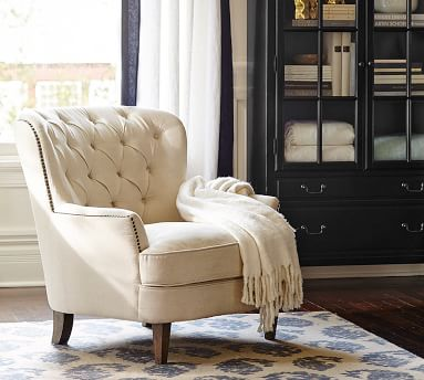 Cardiff Upholstered Tufted Armchair, Polyester Wrapped Cushions, Performance Heathered Tweed Indigo