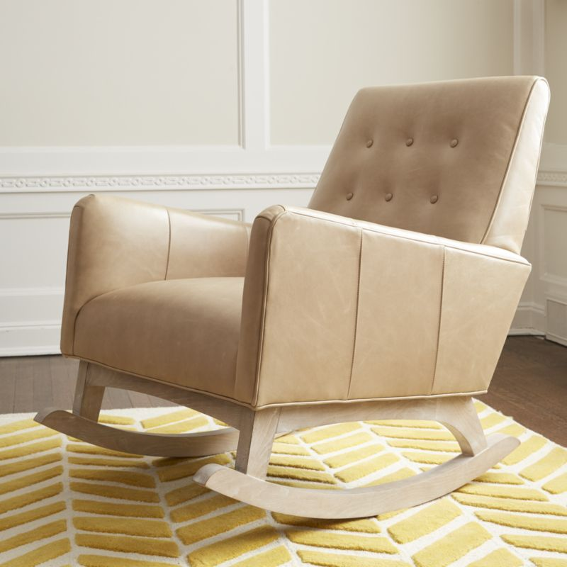 Everly Leather Tufted Rocking Chair